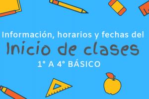 Inicio de clases 1° a 4° básico : información, horarios y fechas.